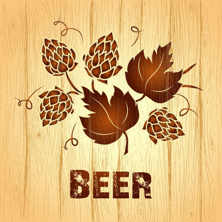 hop cone: Decorative hops vector illustration. wooden  vintage background