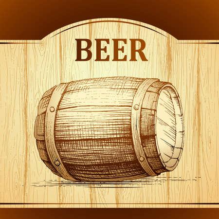 beer keg for lable, package. wooden  vintage background. Vector