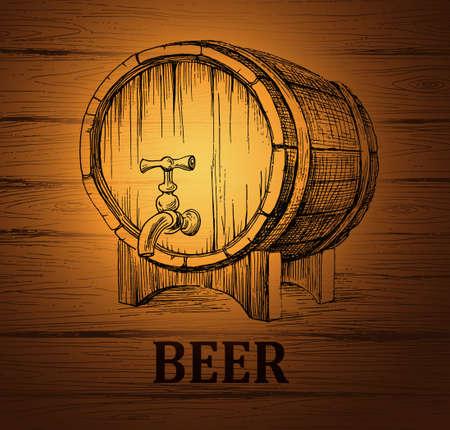 ビール樽 lable、パッケージします。木製のビンテージ背景。  イラスト・ベクター素材