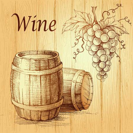 木製の背景にブドウの房。木製の樽。ワインのラベル