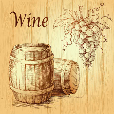 grape: Bunch of grapes on wood background. wooden barrel.  Wine lable