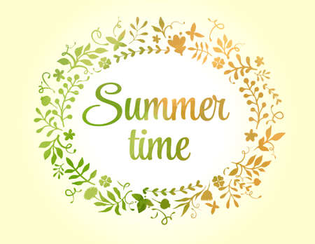 Vector floral frame summer time. Stock Photo