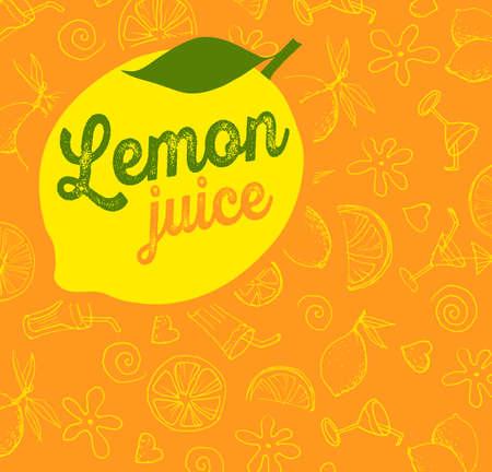 fruit juice: Vector fruit pattern juice lemon