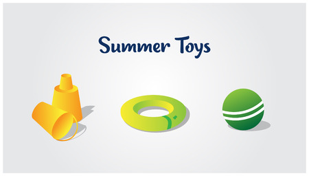 Summer toys is a small vector icons pack for beach holiday activities.