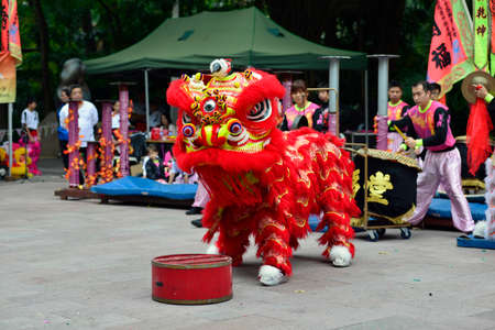 new year dance: Lion dance Editorial