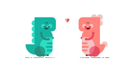 Cute vector dinosaurs on white background. Dino love. Happy dinosaurs
