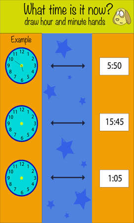 What time is it game. Children education game, iq test