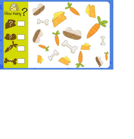 How many objects. Children education game, iq test Illusztráció