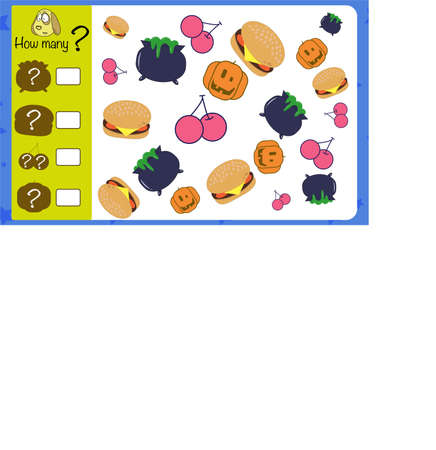 How many objects. Children education game, iq test Illustration