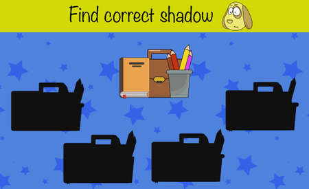 Puzzle game for children. Find correct shadow. Preschool worksheet activity for kids. Education game, iq test, brain