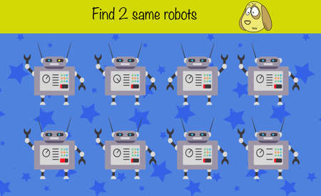 Puzzle game for children. Find 2 same pictures. Preschool worksheet activity for kids. Education game, iq test.