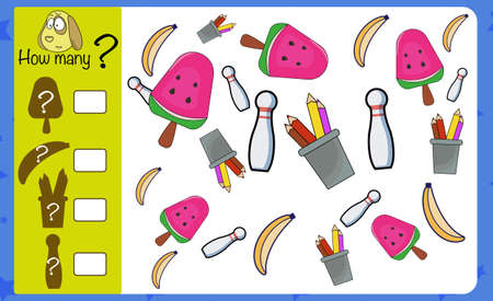 Puzzle game for children. How many objects. Preschool worksheet activity for kids. Education game, iq test, count.