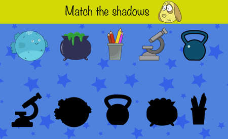 Puzzle game for children. Match the shadows. Preschool worksheet activity for kids. Education game, iq test, brain