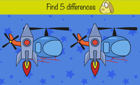 Puzzle game for children. Find 5 differences. Preschool worksheet activity for kids. Education game, iq test, brain