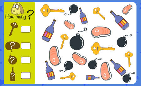 Puzzle game for children. How many objects. Preschool worksheet activity for kids. Education game, iq test, brain training