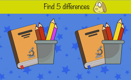 Puzzle game for children. Find 5 differences. Preschool worksheet activity for kids. Education game, iq test, brain training