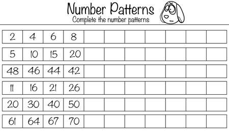 Puzzle game for children. Complete the number patterns. Preschool printable worksheet activity for kids. Education game, iq test, brain training Vettoriali