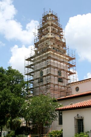 A tower under construction at a local college