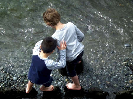 beachcomb: Young boys wade in the sea at Victoria on Vancouver Island, British Columbia, Canada