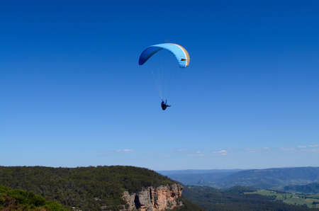 A paraglider in action at Blackheath in the Blue Mountains