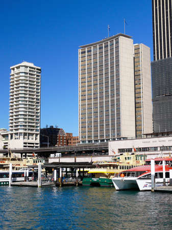 A view of ferries at Circular Quay in Sydney, Australia 스톡 콘텐츠 - 136660836