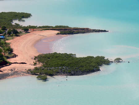 An aerial view of Broomes Town Beach on Roebuck Bay