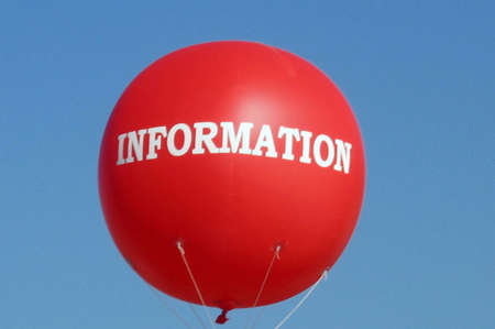 giant red information balloon in