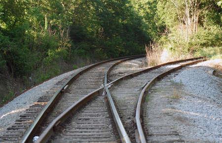 diverging railroad tracks 版權商用圖片