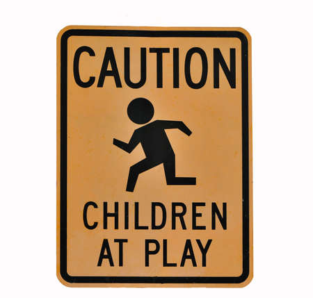 children at play: Children at play caution sign Stock Photo