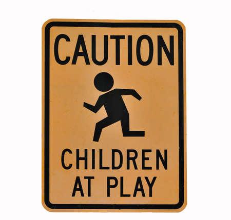 achtung schild: Kinder spielen auf CAUTION SIGN
