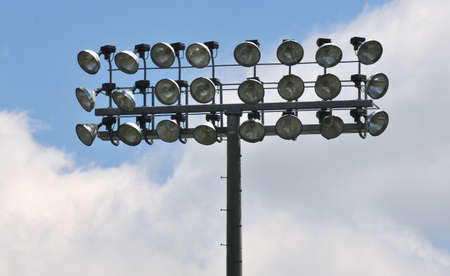 three tier bank of stadium lights