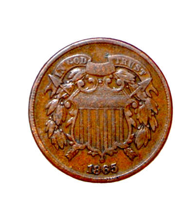 minted: american two cent coin 1865