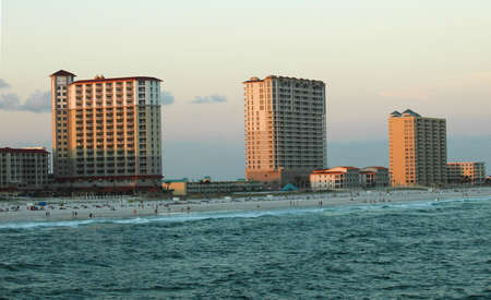 beach resort skyline at sunset