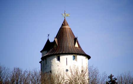 kasteel op een heuvel Stockfoto