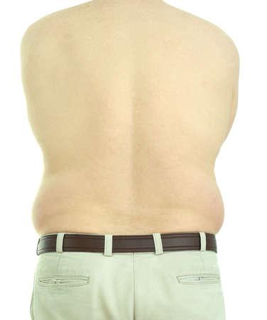 肥満、中年の男、上半身裸の背面図です。