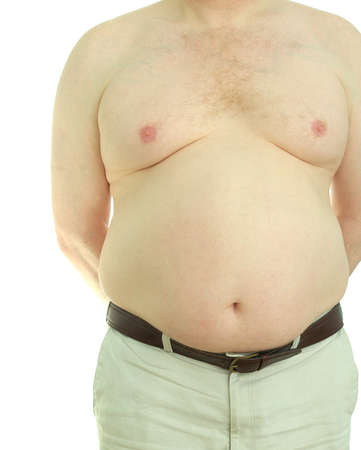 Front view of an overweight, middle-aged man naked from the waist up. Stock Photo