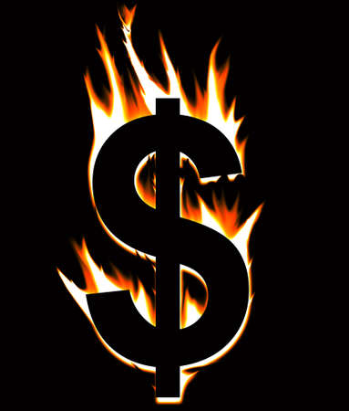 US Dollar going up in flames against a black background. Stock Photo