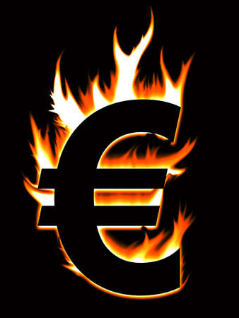 Euro symbol going up in flames Stock Photo
