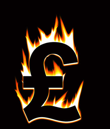 The Pound Sterling going up in flames. Stock Photo - 12420762