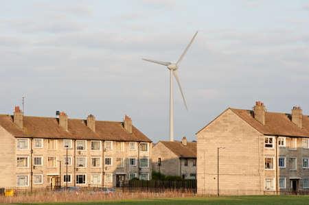 Giant wind turbine in urban setting