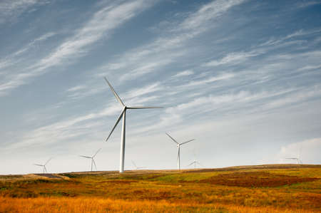 Wind turbines in a heather field Stock Photo - 12420764