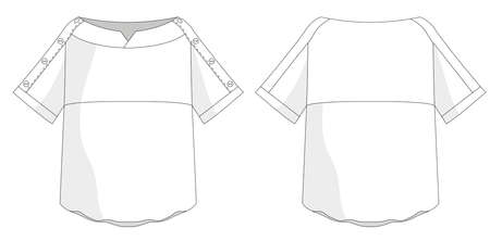 technical flat sketch for womens blouse shirt