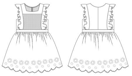 technical sketch of childrens dress for girls