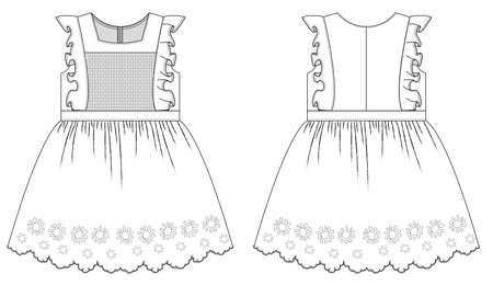 technical sketch of childrens dress for girls Banco de Imagens - 133344434