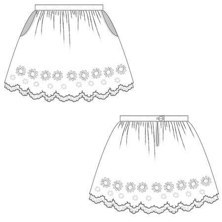 technical sketch flat of childrens skirt