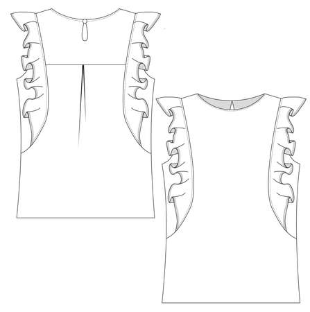 technical fashion flat of blouse with frills