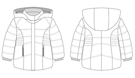 technical flat of childrens winter coat