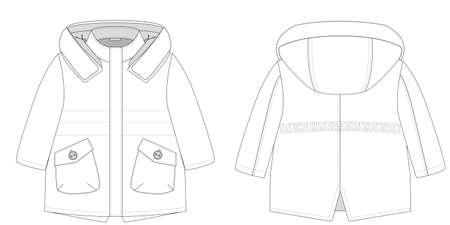 technical flat of childrens winter coat Stok Fotoğraf - 133344415