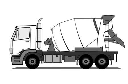 white truck: Cement mixer truck