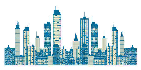 city square: City skyline Illustration